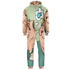 Cat Animal Fish Thinking Cute Pet Hooded Jumpsuit (men)