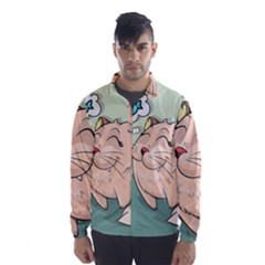 Cat Animal Fish Thinking Cute Pet Wind Breaker (men)