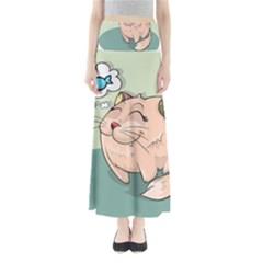 Cat Animal Fish Thinking Cute Pet Full Length Maxi Skirt