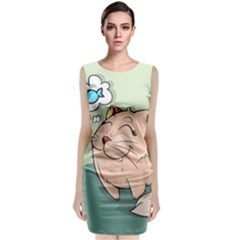 Cat Animal Fish Thinking Cute Pet Classic Sleeveless Midi Dress