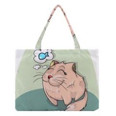 Cat Animal Fish Thinking Cute Pet Medium Tote Bag by Nexatart