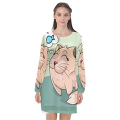 Cat Animal Fish Thinking Cute Pet Long Sleeve Chiffon Shift Dress