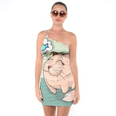 Cat Animal Fish Thinking Cute Pet One Soulder Bodycon Dress
