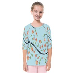 Branch Floral Flourish Flower Kids  Quarter Sleeve Raglan Tee