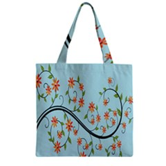 Branch Floral Flourish Flower Zipper Grocery Tote Bag by Nexatart