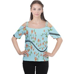 Branch Floral Flourish Flower Cutout Shoulder Tee
