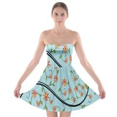 Branch Floral Flourish Flower Strapless Bra Top Dress