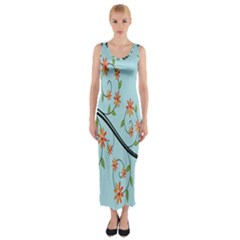 Branch Floral Flourish Flower Fitted Maxi Dress