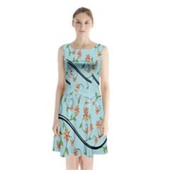 Branch Floral Flourish Flower Sleeveless Waist Tie Chiffon Dress