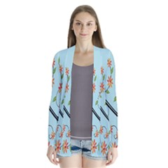 Branch Floral Flourish Flower Drape Collar Cardigan