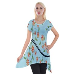 Branch Floral Flourish Flower Short Sleeve Side Drop Tunic