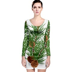 Branch Floral Green Nature Pine Long Sleeve Bodycon Dress