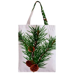 Branch Floral Green Nature Pine Zipper Classic Tote Bag