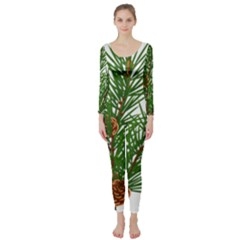 Branch Floral Green Nature Pine Long Sleeve Catsuit