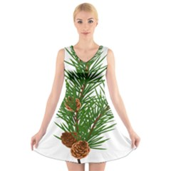 Branch Floral Green Nature Pine V Neck Sleeveless Skater Dress