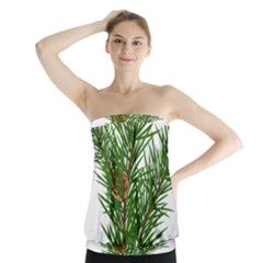 Branch Floral Green Nature Pine Strapless Top