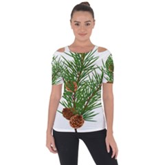 Branch Floral Green Nature Pine Short Sleeve Top