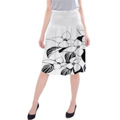 Ecological Floral Flowers Leaf Midi Beach Skirt