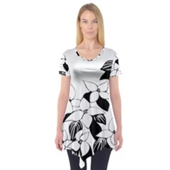 Ecological Floral Flowers Leaf Short Sleeve Tunic