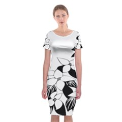 Ecological Floral Flowers Leaf Classic Short Sleeve Midi Dress