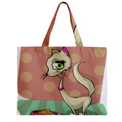 Cat Food Eating Breakfast Gourmet Zipper Mini Tote Bag