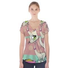 Cat Food Eating Breakfast Gourmet Short Sleeve Front Detail Top