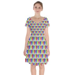 Colorful Shiny Eat Edible Food Short Sleeve Bardot Dress