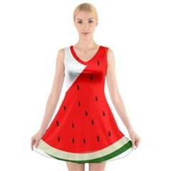 Fruit Harvest Slice Summer V Neck Sleeveless Skater Dress