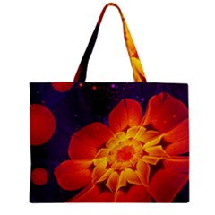 Royal Blue, Red, And Yellow Fractal Gerbera Daisy Zipper Mini Tote Bag by beautifulfractals