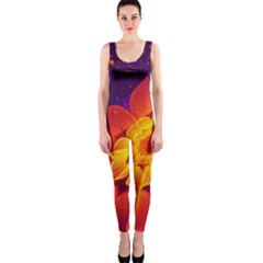 Royal Blue, Red, And Yellow Fractal Gerbera Daisy Onepiece Catsuit by beautifulfractals