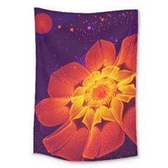 Royal Blue, Red, And Yellow Fractal Gerbera Daisy Large Tapestry by beautifulfractals