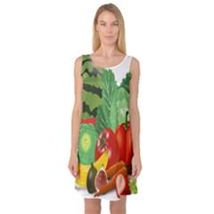 Fruits Vegetables Artichoke Banana Sleeveless Satin Nightdress