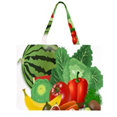 Fruits Vegetables Artichoke Banana Zipper Large Tote Bag