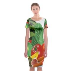 Fruits Vegetables Artichoke Banana Classic Short Sleeve Midi Dress
