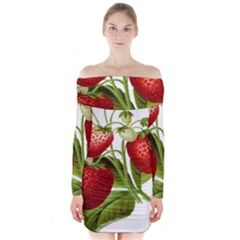 Food Fruit Leaf Leafy Leaves Long Sleeve Off Shoulder Dress