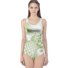 Fruits Vintage Food Healthy Retro One Piece Swimsuit
