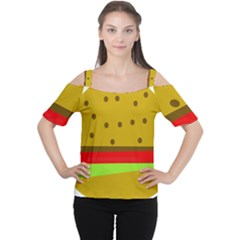 Hamburger Food Fast Food Burger Cutout Shoulder Tee