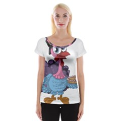 Turkey Animal Pie Tongue Feathers Cap Sleeve Tops