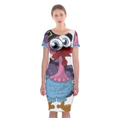 Turkey Animal Pie Tongue Feathers Classic Short Sleeve Midi Dress