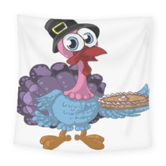 Turkey Animal Pie Tongue Feathers Square Tapestry (large)
