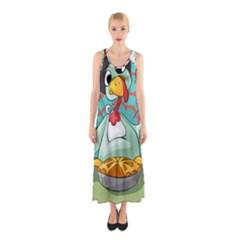 Pie Turkey Eating Fork Knife Hat Sleeveless Maxi Dress