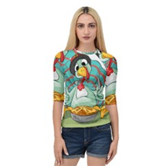 Pie Turkey Eating Fork Knife Hat Quarter Sleeve Tee by Nexatart