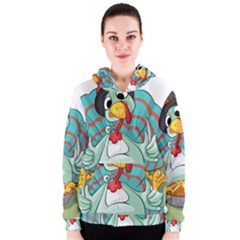 Pie Turkey Eating Fork Knife Hat Women s Zipper Hoodie by Nexatart