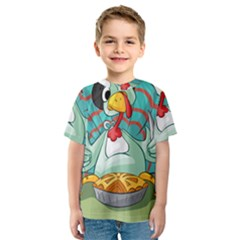 Pie Turkey Eating Fork Knife Hat Kids  Sport Mesh Tee