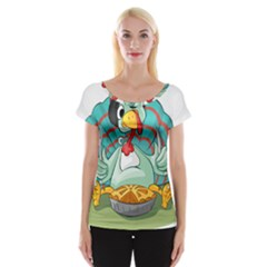 Pie Turkey Eating Fork Knife Hat Cap Sleeve Tops by Nexatart
