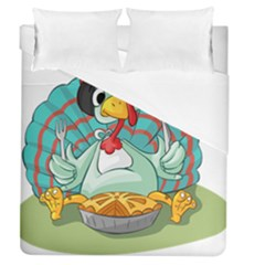 Pie Turkey Eating Fork Knife Hat Duvet Cover (queen Size) by Nexatart
