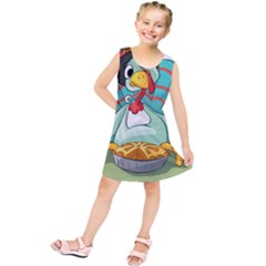 Pie Turkey Eating Fork Knife Hat Kids  Tunic Dress by Nexatart