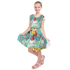 Pie Turkey Eating Fork Knife Hat Kids  Short Sleeve Dress