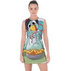 Pie Turkey Eating Fork Knife Hat Lace Up Front Bodycon Dress