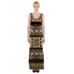 Giraffe African Vector Pattern Maxi Thigh Split Dress